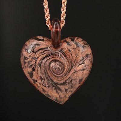 Art Glass Heart Pendant on 10K Rose Gold Rope Chain