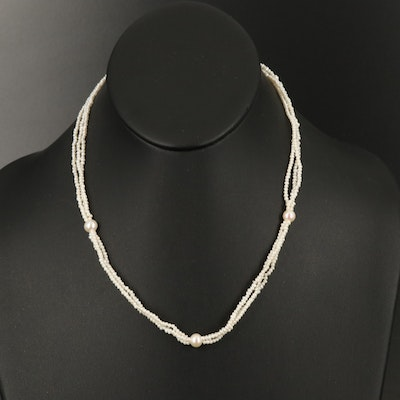 14K Gold Pearl Triple Strand Necklace
