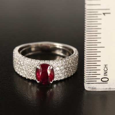 Kat Florence Platinum 1.22 CT Ruby Ring with Pavé Diamond Shoulders