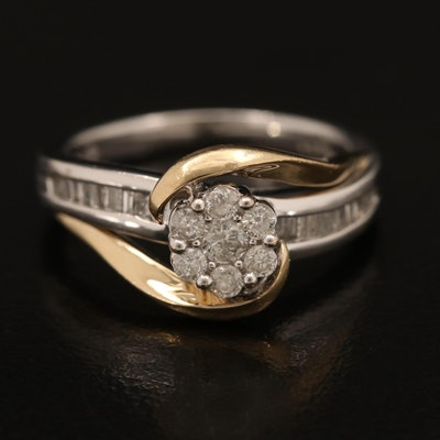 14K 0.45 CTW Diamond Cluster Ring with Yellow Gold Accents