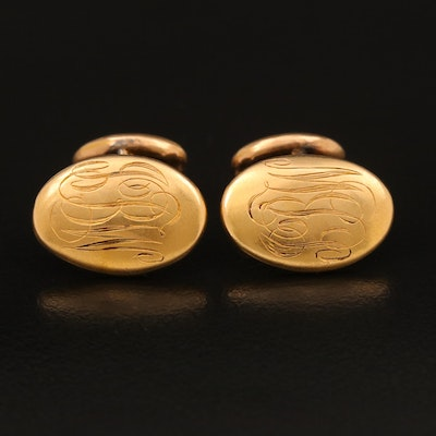 Early 1900s Larter & Sons 14K and 10K Monogrammed Oval Cufflinks