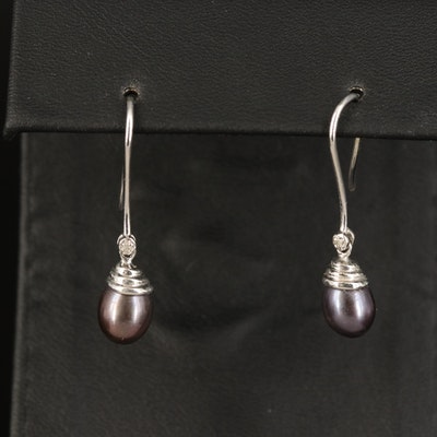 10K Pearl and Diamond Drop Earrings