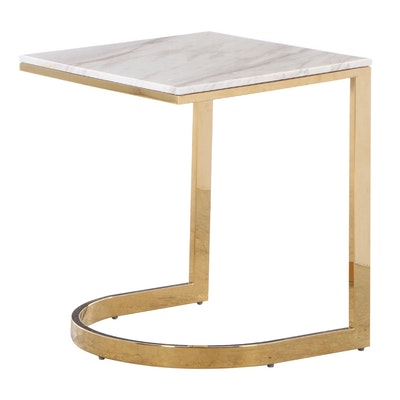 """Bernhardt Furniture """"Marquis"""" Brass-Patinated Steel and Marble Top Side Table"""