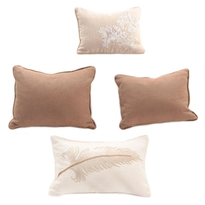 Embroidered and Plain Canvas Accent Pillows