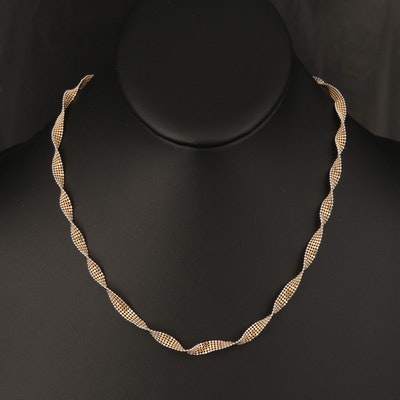 Italian 14K Two-Tone Gold Twisted Bead Chain Necklace