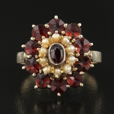 Vintage Sterling Silver Garnet and Pearl Ring