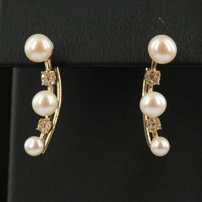 10K Pearl and White Spinel Ear Climbers