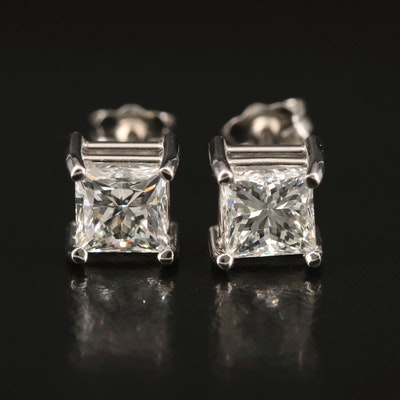Platinum 2.00 CTW Diamond Stud Earrings with GIA Online Reports