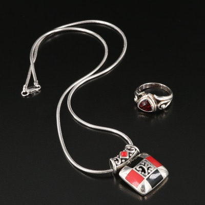 Sterling Silver Resin Slide Pendant Necklace with Garnet Ring