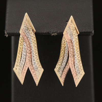 Italian 14K Tri-Gold Chevron Earrings