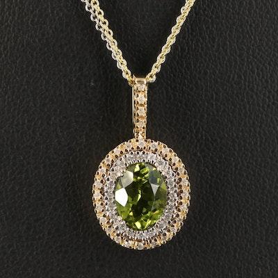 14K Peridot and Diamond Pendant Necklace