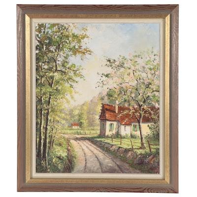 Rural Landscape Oil Painting, 1971