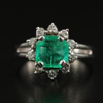 1950s Platinum 1.84 CT Emerald and Diamond Ring