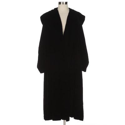 Battlestein's of Houston Hooded Coat in Black Velvet
