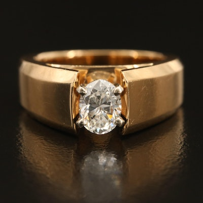 14K 0.73 CT Diamond Solitaire Cathedral Ring