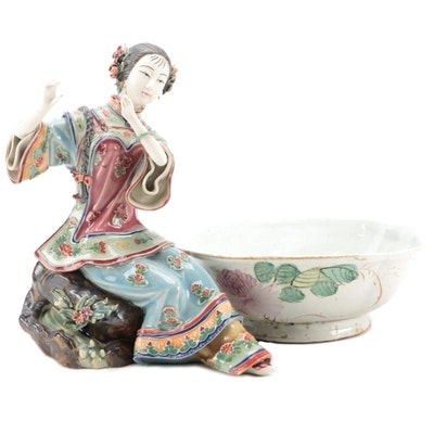 Chinese Porcelain Famille Rose Bowl and Other Figurine
