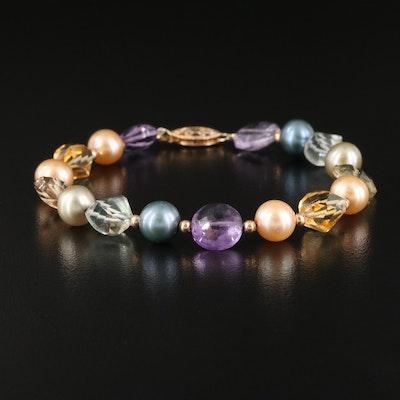 14K Amethyst, Citrine, Rock Crystal Quartz and Pearl Bracelet