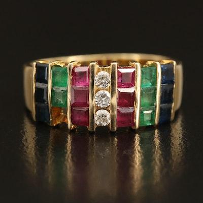 14K Diamond and Gemstone Multi-Row Band