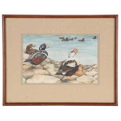 Gouache Painting of Ducks, 1976
