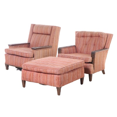 Two Romweber Relief-Carved Oak and Custom-Upholstered Club Chairs with Ottoman