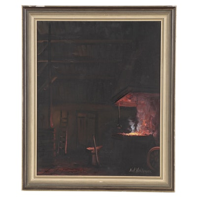 Dick Hollander Oil Painting of Hearth, Late 20th Century