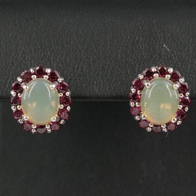 Sterling Opal and Garnet Earrings