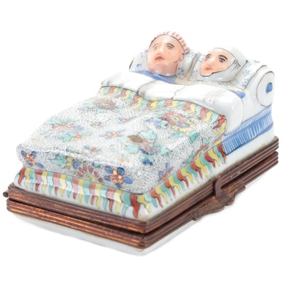 French Limoges Chantilly Style Hand-Painted Porcelain Couple in Bed Box
