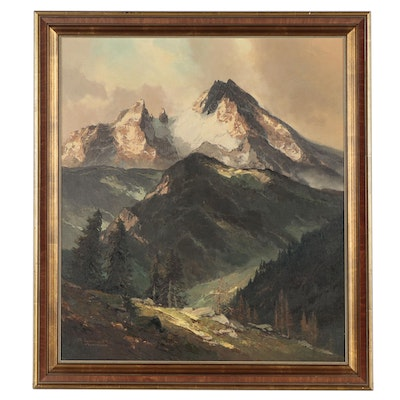A. Lunke Landscape Oil Painting of Munich, Mid-20th Century