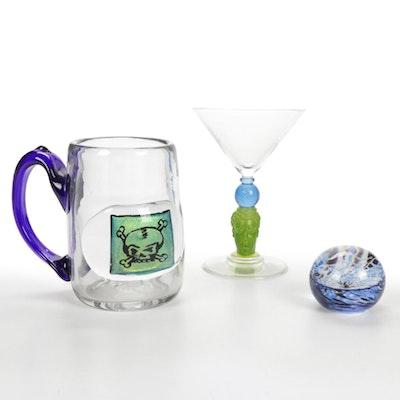 Richard Jolley Martini Glass and Handblown Art Glass Mug and Paperweight