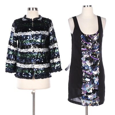 Bebe Cocktail Dress and Marc by Marc Jacobs Jacket with Sequined Embellishments