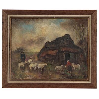 Genre Scene Oil Painting of Farmers Herding Sheep, Mid-20th Century