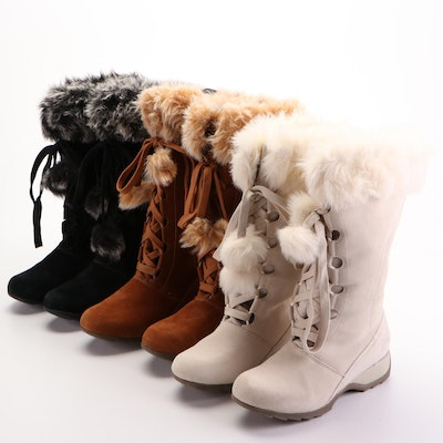 Sporto Winter Boots in Suede with Faux Fur Trim