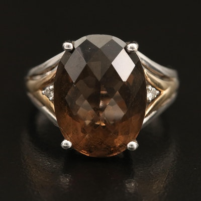 Sterling Smoky Quartz and Diamond Ring with 14K Accents