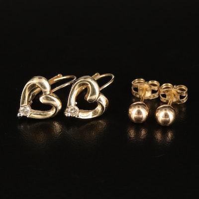 14K 0.12 CTW Diamond Heart and Ball Earrings