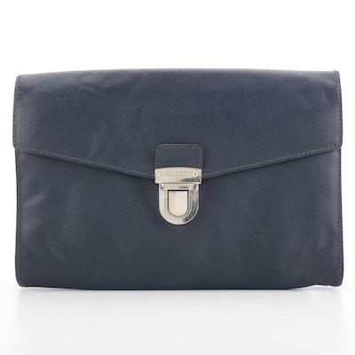 Prada Flap Front Clutch in Blue Saffiano Leather