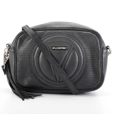 Valentino by Mario Valentino Logo Black Perforated Leather Crossbody with Tassel