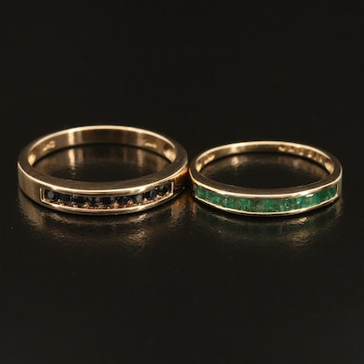 10K Emerald and Sapphire Bands