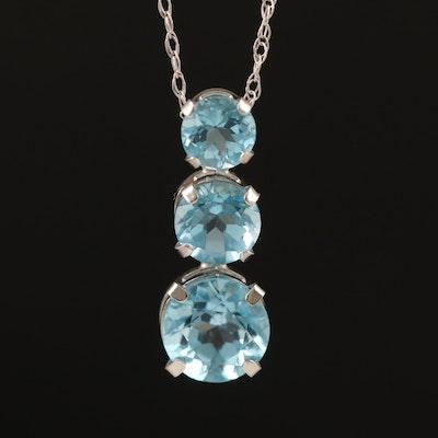 10K Swiss Blue Topaz Graduated Pendant Necklace