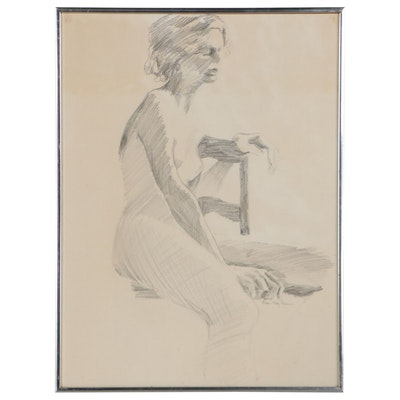 """Elsie Kay Harris Graphite Drawing """"Seated Figure with Arm on Back of Chair"""""""