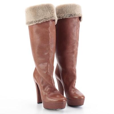 Viktor & Rolf Platform High-Heeled Below-the-Knee Boots with Rabbit Fur Trim