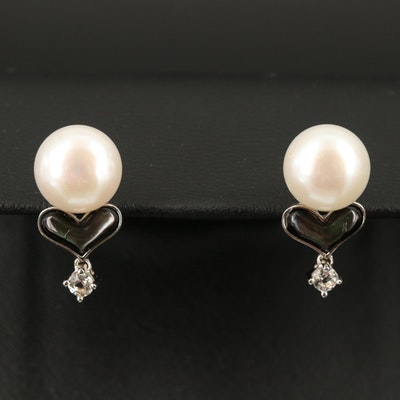 Sterling Pearl, Mother of Pearl and Topaz Heart Earrings