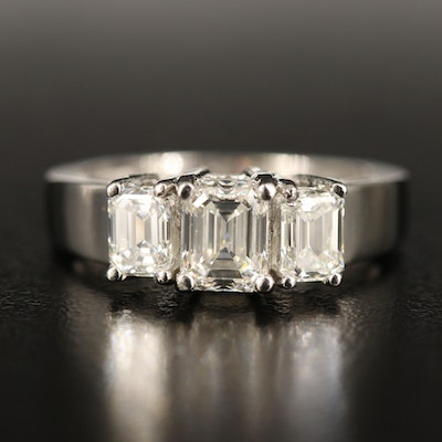 Platinum 2.05 CTW Diamond Three Stone Ring with GIA Report and Dossiers