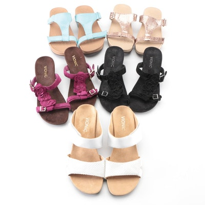 Vionic Embellished and Embossed Strappy Wedge Sandals
