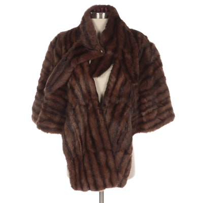 Dark Brown Squirrel Fur Capelet with Coordinating Scarf