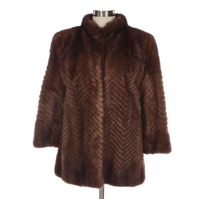 Demi Buff Mink Fur Jacket with Chevron Pattern
