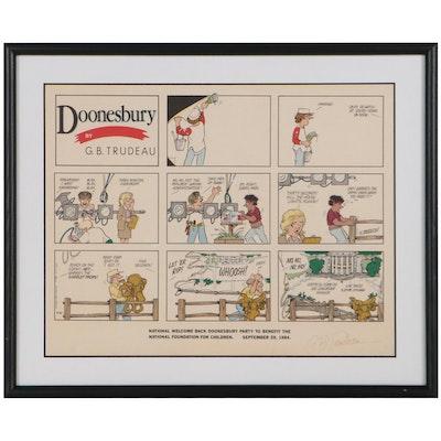 """G.B. Trudeau Offset Lithograph Cartoon Panel """"Doonesbury,"""" 1984"""