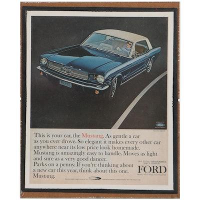Offset Lithograph Mustang Hardtop Advertisement, Circa 1966