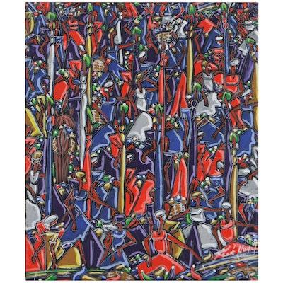Folk Style Figural Acrylic Painting, Circa 2000