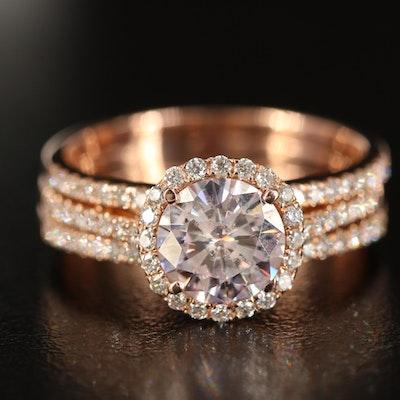 14K Rose Gold Moissanite and Diamond Ring