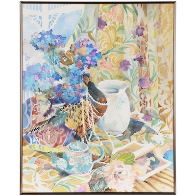 Diana Barnes Still Life Watercolor Painting with Decorated Peacock, Circa 2000
